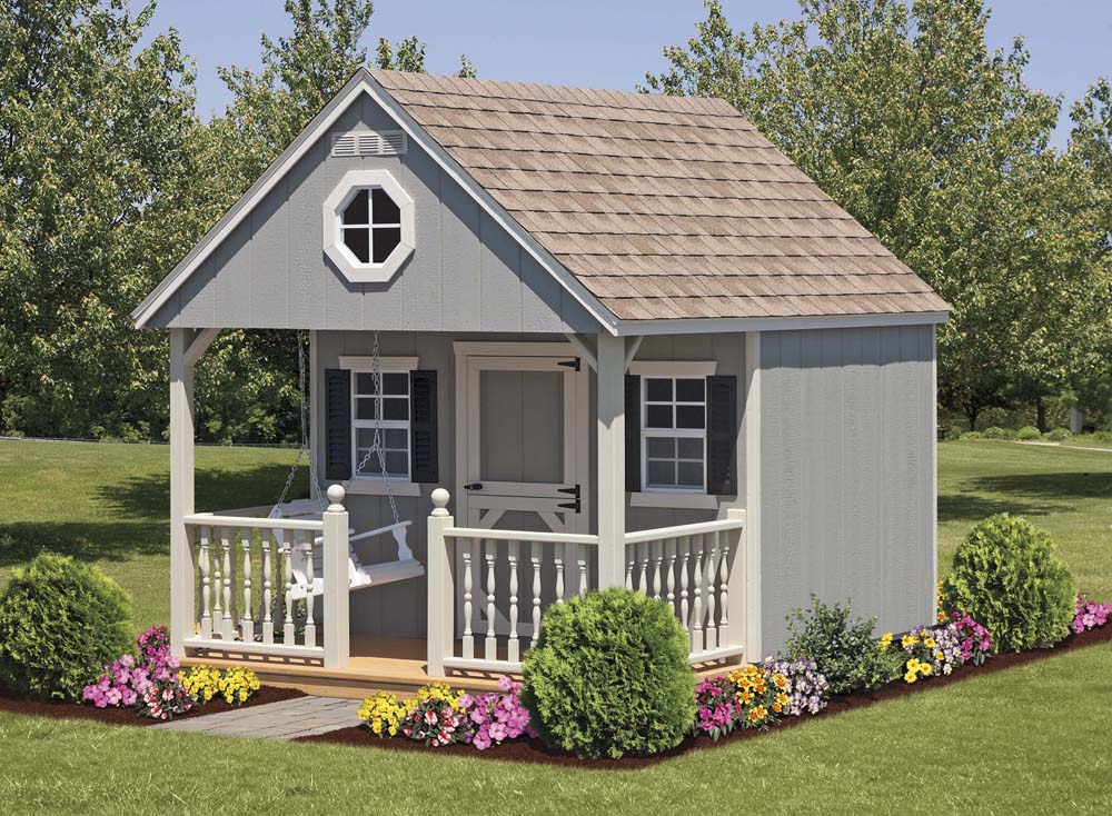 Cabin play houses sheds garages for Playhouse with porch plans