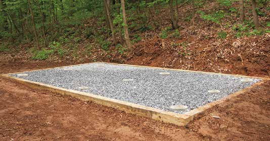 10x12 shed pad with concrete pillars