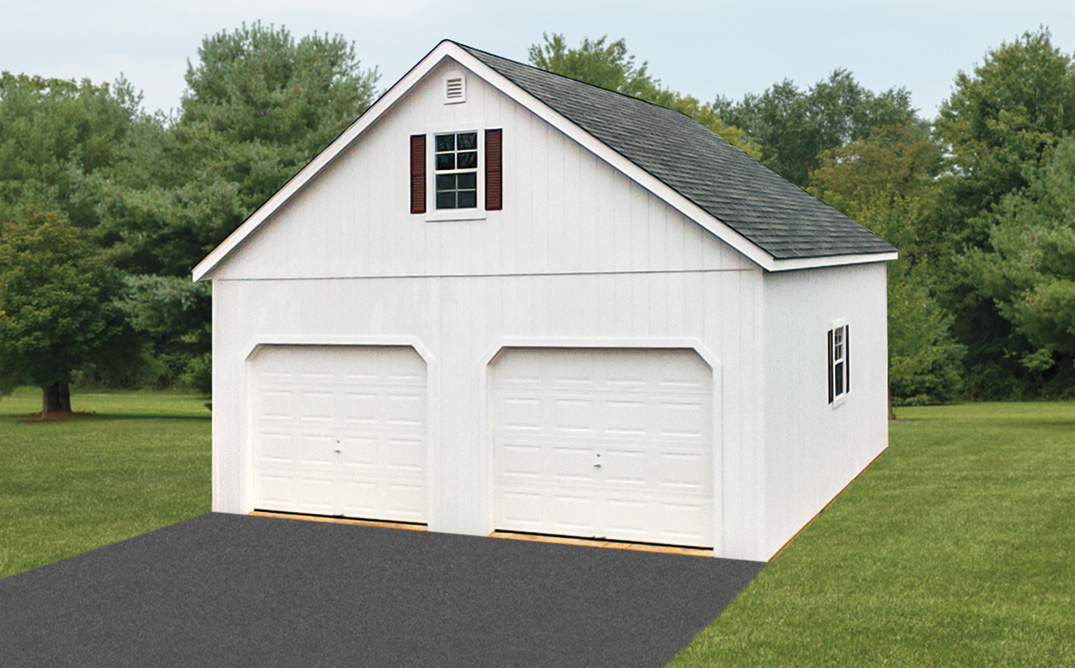 White painted T111, 24x24   2 car, 2 story Garage $15,983